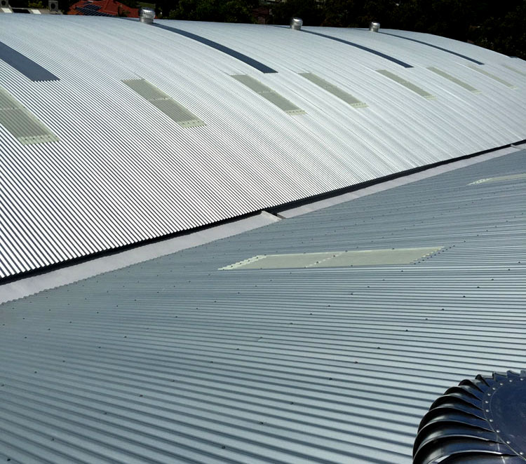 Klip-lok Colorbond commercial roof completed by Alliance Metal Roofing near Newcastle Australia.