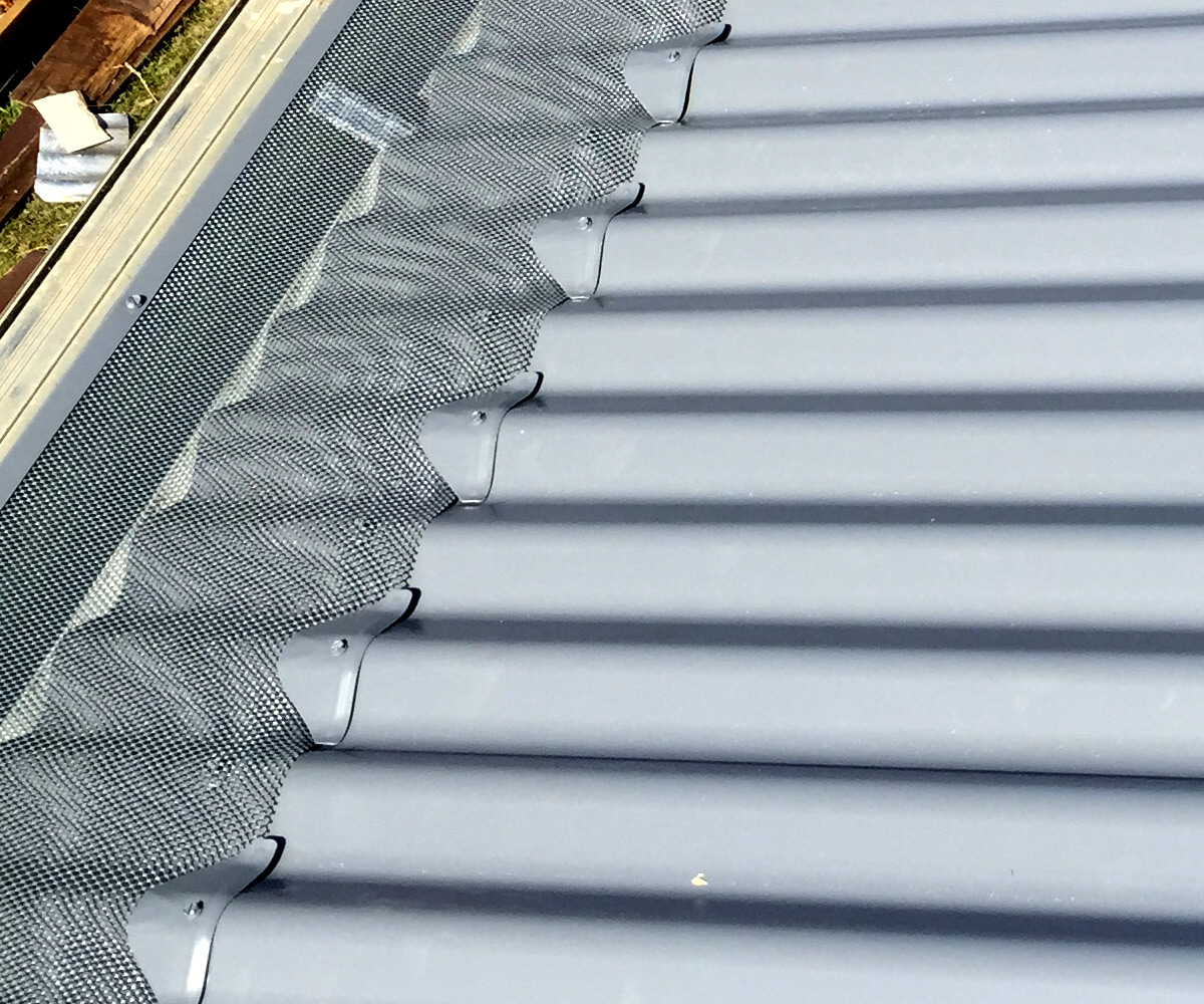 Protect gutters with mesh that prevents buildup of leaves and debris.